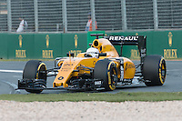 March 20, 2016: Kevin Magnussen (DEN) #20 from the Renault Sport F1 team at turn one of the 2016 Australian Formula One Grand Prix at Albert Park, Melbourne, Australia. Photo Sydney Low