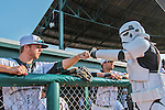 4 September 2016: As part of a Star Wars evening at the ballpark, an Imperial Storm Trooper interacts with members of the Vermont Lake Monsters prior to a game against the Lowell Spinners at Centennial Field in Burlington, Vermont. The Spinners defeated the Lake Monsters 8-3 in NY Penn League action. Mandatory Credit: Ed Wolfstein Photo *** RAW (NEF) Image File Available ***