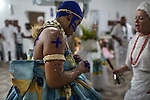 RIO DE JANEIRO, BRAZIL - JANUARY 24: Newly initiated practitioners obsessed by deities, or orixas,  during a candomble ceremony, in Rio de Janeiro, Brazil, on Saturday, Jan. 23, 2015. They perform specific dances which enables them to become possessed by the orixas. Brazil's Afro-Brazilian religions which in recent years have come under increasing threats and prejudice, particularly from the growing number of evangelical churches. Candombl&eacute; originated in Salvador, Bahia at the beginning of the 19th century when enslaved Africans brought their beliefs with them. Umbanda and candombl&eacute; are Afro-Brazilian religions practiced in mostly Brazil. <br /> (Lianne Milton for the Washington Post)