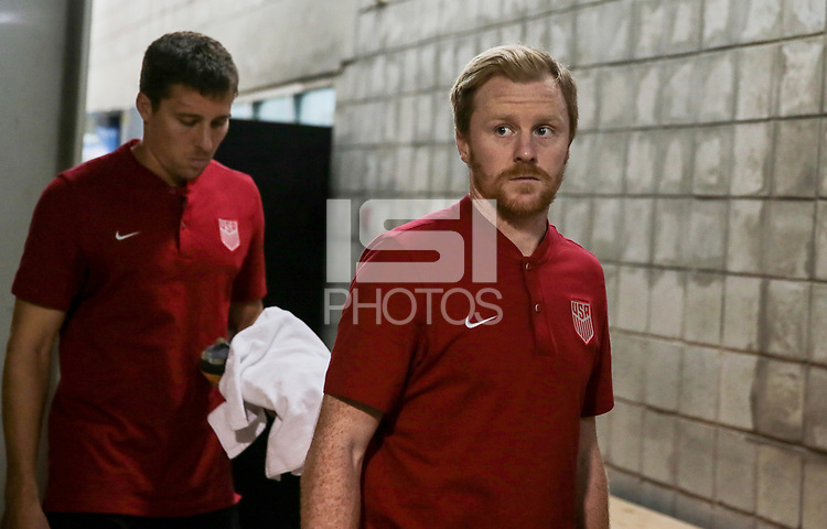 Couva, Trinidad & Tobago - Tuesday Oct. 10, 2017: Matt Besler, Dax McCarty during a 2018 FIFA World Cup Qualifier between the men's national teams of the United States (USA) and Trinidad & Tobago (TRI) at Ato Boldon Stadium.