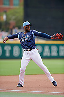 Columbus Clippers third baseman Yandy Diaz (11) throws to first base during a game against the Gwinnett Stripers on May 17, 2018 at Huntington Park in Columbus, Ohio.  Gwinnett defeated Columbus 6-0.  (Mike Janes/Four Seam Images)