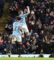 Manchester City's Kevin De Bruyne celebrates scoring his side's third goal <br /> <br /> Photographer Rich Linley/CameraSport<br /> <br /> Emirates FA Cup Fourth Round - Manchester City v Burnley - Saturday 26th January 2019 - The Etihad - Manchester<br />  <br /> World Copyright © 2019 CameraSport. All rights reserved. 43 Linden Ave. Countesthorpe. Leicester. England. LE8 5PG - Tel: +44 (0) 116 277 4147 - admin@camerasport.com - www.camerasport.com