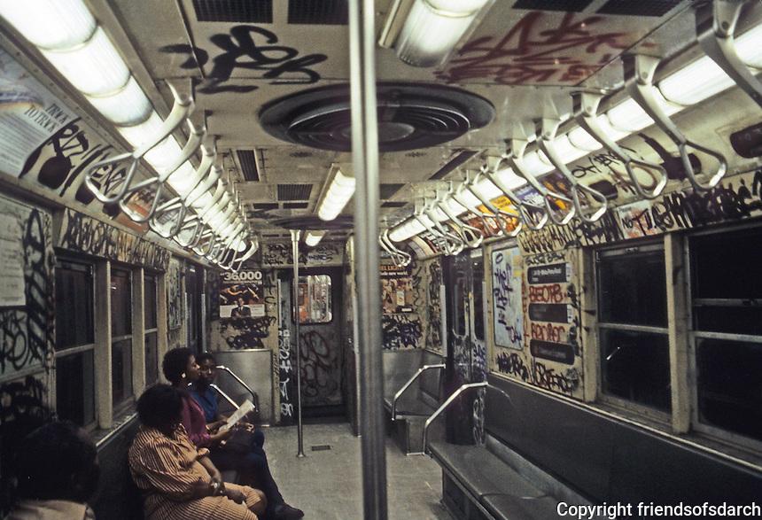 New York City: Subway car--interior. Photo '85.