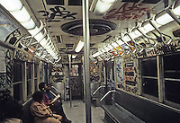 New York City: Subway car--interior. Photo '85.