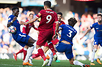 Liverpool's Roberto Firmino appeals for hand ball by Chelsea's Tiemoue Bakayoko after this incident <br /> <br /> Photographer Craig Mercer/CameraSport<br /> <br /> The Premier League - Chelsea v Liverpool - Sunday 6th May 2018 - Stamford Bridge - London<br /> <br /> World Copyright &copy; 2018 CameraSport. All rights reserved. 43 Linden Ave. Countesthorpe. Leicester. England. LE8 5PG - Tel: +44 (0) 116 277 4147 - admin@camerasport.com - www.camerasport.com