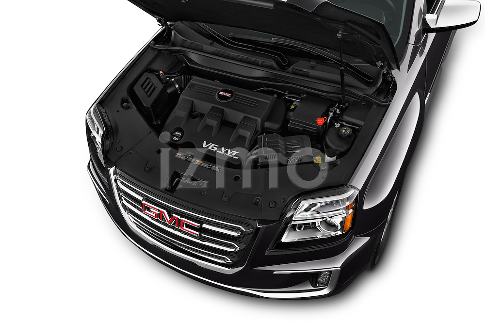 Car Stock 2017 GMC Terrain SLT 5 Door SUV Engine  high angle detail view