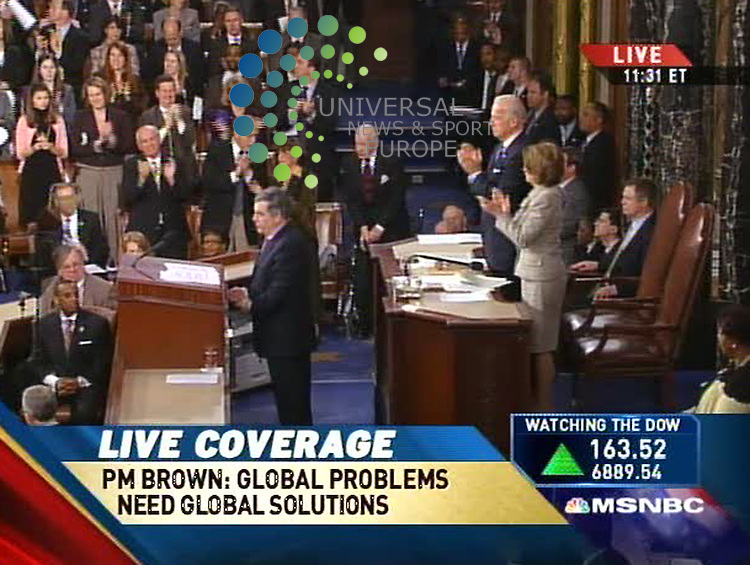 Gordon Brown has told the US Congress that the partnership between the UK and the US is &quot;unbreakable&quot; and that &quot;no power on earth can ever draw us apart&quot;. Mr Brown, the fifth UK prime minister in history to address both houses on Capitol Hill, urged &quot;essential&quot; changes to the world economy. Nations should not &quot;succumb&quot; to protectionism &quot;which protects no-one&quot;, but seize opportunities ahead, he said. Picture: Universal News and Sport 4/3/09. <br /> (Universal News does not claim any Copyright or License in the attached material. Any downloading fee charged by Universal News and Sport is for Universal News services only. We are advised that videograbs should not be used more than 48 hours after the time of original transmission, without the consent of the copyright holder).