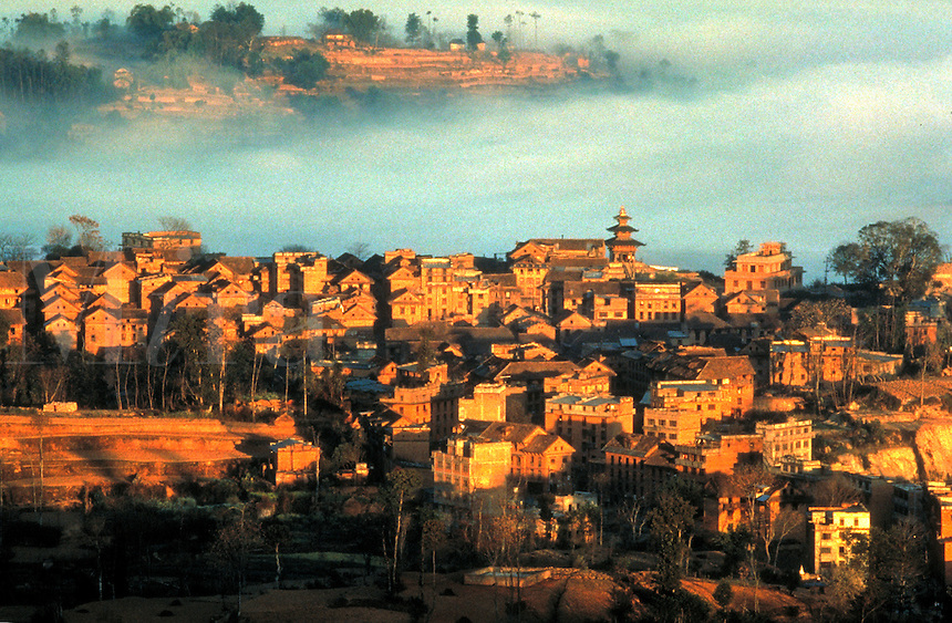 Overview of city, Kathmandu, Nepal. Himalayas. Mist. Cityscape. Kathmandu, Nepal Asia.