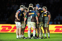 The Harlequins players huddle together during a break in play. Anglo-Welsh Cup match, between Harlequins and Sale Sharks on February 3, 2017 at the Twickenham Stoop in London, England. Photo by: Patrick Khachfe / JMP
