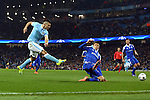 Sergio Aguero of Manchester City shoots at goal during the UEFA Champions League match at the Etihad Stadium. Photo credit should read: Philip Oldham/Sportimage