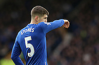 John Stones wipes his nose on the sleeve of his shirt during the Barclays Premier League match between Everton and Swansea City played at Goodison Park, Liverpool
