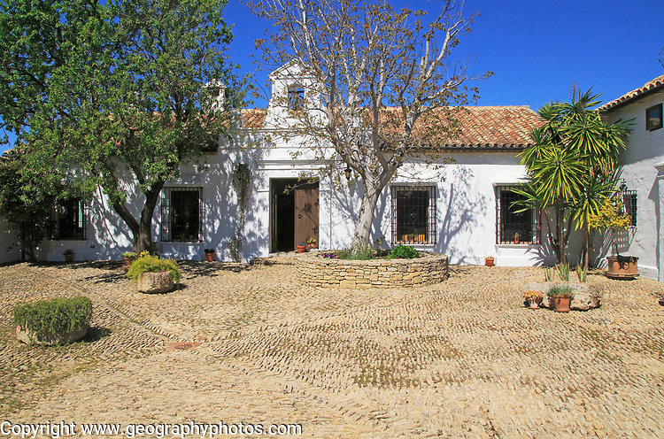 Courtyard of traditional farmhouse, Cortijo Cuevas del Marques,  Rio Setenil valley, Serrania de Ronda, Spain