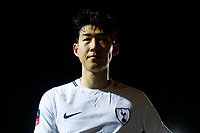 Son Heung-min of Tottenham Hotspur looks dejected after the final whistle of the Fly Emirates FA Cup Fourth Round match between Newport County and Tottenham Hotspur at Rodney Parade, Newport, Wales, UK. Saturday 27 January 2018