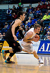 January 24, 2017:  Air Force guard, Zach Kocur #5, drives past Aztec, Max Hoetzel #10, during the NCAA basketball game between the San Diego State Aztecs and the Air Force Academy Falcons, Clune Arena, U.S. Air Force Academy, Colorado Springs, Colorado.  Air Force defeats San Diego State 60-57.