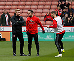 Matt Prestridge and Mark McNulty of Sheffield Utd during warm up during the English League One match at Bramall Lane Stadium, Sheffield. Picture date: April 17th 2017. Pic credit should read: Simon Bellis/Sportimage