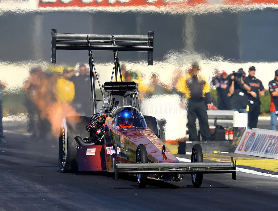 Feb 12, 2016; Pomona, CA, USA; NHRA top fuel driver Steve Faria during qualifying for the Winternationals at Auto Club Raceway at Pomona. Mandatory Credit: Mark J. Rebilas-USA TODAY Sports
