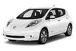 2017 Nissan Leaf SL 5 Door Hatchback angular front stock photos of front three quarter view