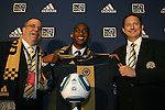 14 January 2010: Amobi Okugo was selected with the #6 overall pick by the Philadelphia Union. From left: Tom Veit, Amobi Okugo, Nick Sakiewicz. The 2010 MLS SuperDraft was held in the Ballroom at Pennsylvania Convention Center in Philadelphia, PA during the NSCAA Annual Convention.