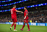 Serge Gnabry (right) celebrates scoring a goal with Robert Lewandowski of Bayern Munich during the UEFA Champions League group match between Tottenham Hotspur and Bayern Munich at Wembley Stadium, London, England on 1 October 2019. Photo by Andy Rowland.