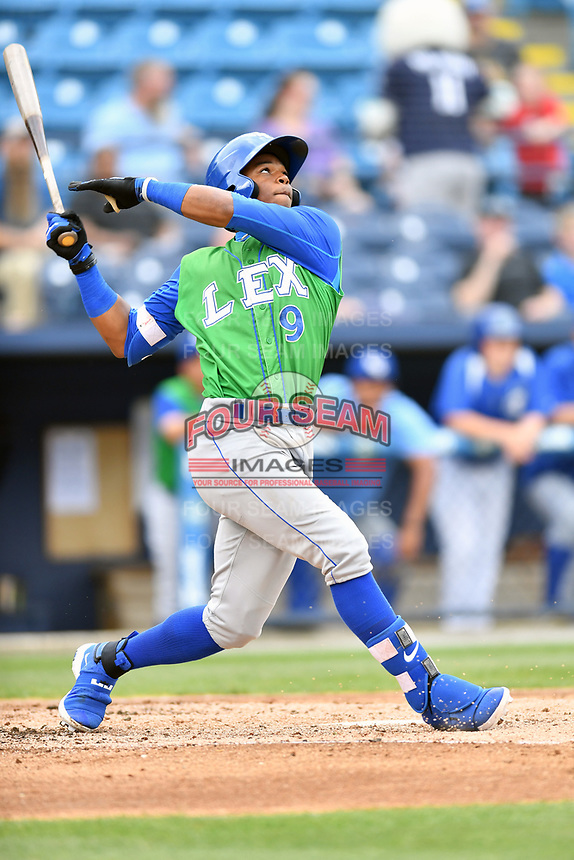 Lexington Legends center fielder Khalil Lee (9) swings at a pitch during a game against the Asheville Tourists at McCormick Field on May 29, 2017 in , North Carolina. The Legends defeated the Tourists 6-2. (Tony Farlow/Four Seam Images)