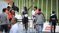 RIO DE JANEIRO, RJ, 05.06.2016 - ATLETISMO-RJ - Atleta norte americano, Justin Gatlin, termina a prova em primeiro lugar, durante o desafio Mano a Mano, na Quinta da Boa Vista, na manhã deste domingo, 05.    (Foto: Jayson Braga / Brazil Photo Press)