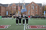 SALEM, VA - DECEMBER 3:The National Anthem at the start of theDivision III Men's Soccer Championship held at Kerr Stadium on December 3, 2016 in Salem, Virginia. Tufts defeated Calvin 1-0 for the national title. (Photo by Kelsey Grant/NCAA Photos)