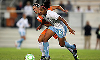 Sky Blue's Yael Averbuch (10) tries to hold up Chicago's Chioma Igwe (12) in the midfield.  Sky Blue defeated the Chicago Red Stars 1-0 in a mid-week game, Wednesday, June 17, at Yurcak Field.