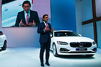NEW YORK, NY - APRIL 12: Lex Kerssemakers, senior vice president of Volvo Cars of North America LLC, speaks in front of a Volvo S90 at the New York International Auto Show, at the Jacob K. Javits Convention Center on April 12, 2017 in Manhattan, New York. Photo by VIEWpress/Eduardo MunozAlvarez