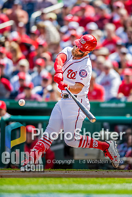 3 April 2017: Washington Nationals outfielder Bryce Harper at bat on Opening Day against the Miami Marlins at Nationals Park in Washington, DC. The Nationals defeated the Marlins 4-2 to open the 2017 MLB Season. Mandatory Credit: Ed Wolfstein Photo *** RAW (NEF) Image File Available ***