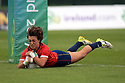 BELFAST, NORTHERN IRELAND - AUGUST 26: Spain's Lera Echebarria scores a try to bring Spain equal with Italy during a final play off  in the Women's World Cup Rugby 2017 at Queen's  University Belfast, Saturday,  August 26, 2017. Photo/Paul McErlane