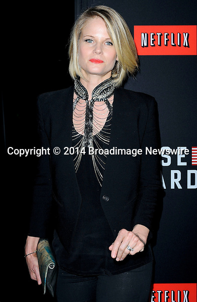 Pictured: Joelle Carter<br /> Mandatory Credit &copy; Adhemar Sburlati/Broadimage<br /> Film Premiere of House of Cards<br /> <br /> 2/13/14, Los Angeles, California, United States of America<br /> <br /> Broadimage Newswire<br /> Los Angeles 1+  (310) 301-1027<br /> New York      1+  (646) 827-9134<br /> sales@broadimage.com<br /> http://www.broadimage.com