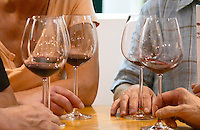 Wine tasting. Wine glasses. ViniPortugal's tasting room. Hands holding wine tasting glasses. Lisbon, Portugal