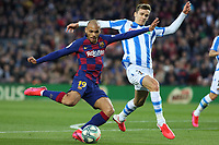 7th March 2020; Camp Nou, Barcelona, Catalonia, Spain; La Liga Football, Barcelona versus Real Sociedad;  Braithwaite evades Llorente of Real and gets his shot on goal