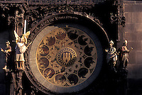 Prague, Czech Republic, Praha, Central Bohemia, Astronomical Clock on Old Town Hall in Old Town Square in the city of Prague.