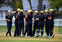 The Epsom team celebrates a wicket during the the New Zealand Secondary Schools 1st XI NZCT girls' cricket national finals match between Tauranga Girls' College and Epsom Girls' Grammar School at Fitzherbert Park in Palmerston North, New Zealand on Sunday, 3 December 2017. Photo: Dave Lintott / lintottphoto.co.nz