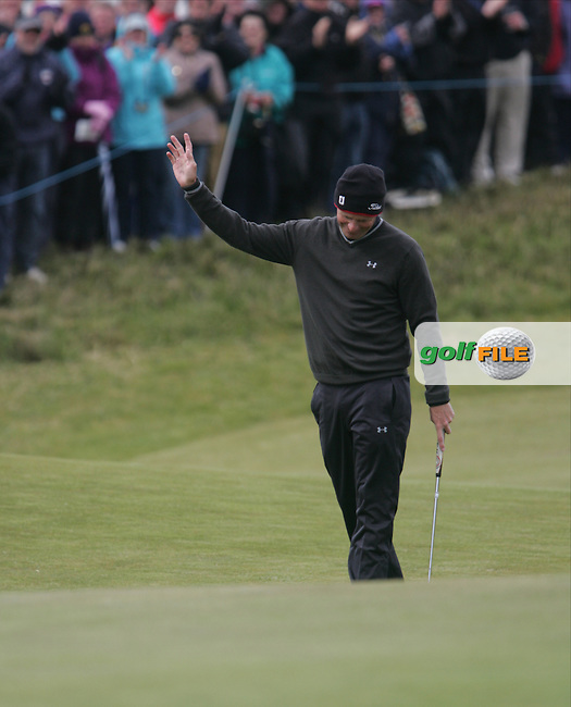 Anders Hansen (DEN) on the 18th green during round 3 of the 2015 Dubai Duty Free Irish Open hosted by the Rory Foundation, Royal County Down Golf Club, Newcastle Co Down, Northern Ireland. 30/05/2015<br /> Picture TJ Caffrey, www.golffile.ie