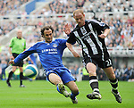 Newcastle's Nicky Butt and Chelsea's Ricardo Carvalho. during the Premier League match at the St James' Park Stadium, Newcastle. Picture date 5th May 2008. Picture credit should read: Richard Lee/Sportimage