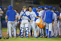 Angel Zerpa (30) of the Burlington Royals celebrates with catcher William Hancock (7) following their Appalachian League playoff win over the Pulaski Yankees at Calfee Park on September 1, 2019 in Pulaski, Virginia. The Royals defeated the Yankees 5-4 in 17 innings. (Brian Westerholt/Four Seam Images)