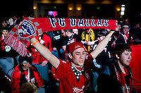 FC Dallas fans cheer during the MLS SuperDraft at the Pennsylvania Convention Center in Philadelphia, PA, on January 16, 2014.