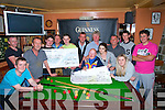 CHEQUE: On Sunday night at Kirby's Bar Ballyheigue Mike Leane who ran a pool competition sponsored by Galway Fuels presented a cheque of €1,200 to the winner and€600 to Down Syndrome Kerry l-r: Conor McCrohan,Carl Craske,Frank Carroll, Robert Craske,Paul O'Connor,David Kissane,David Galway (sponsor), Michael Leane (propertiser), Robert Cashman, Paddy Cashman,Kathy Cashman, Michael Leane,Emma O'Connor and Noel O'Carroll.
