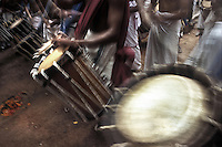 Melam, the traditional drums of Kerala being played during the festival of Onam, Ernakulam, Kerala, India.