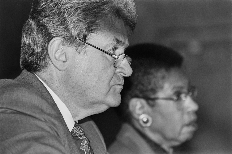 Rep. Thomas J. Manton, D-N.Y., and Rep. Eleanor Holmes Norton, D-D.C., listening to testimony at Personnel Police Subcommittee hearing regarding expanding the Capitol Hill Police Jurisdication in November 1993. (Photo by Maureen Keating/CQ Roll Call)
