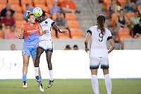 Houston, TX - Saturday July 16, 2016: Cari Roccaro, Shade Pratt during a regular season National Women's Soccer League (NWSL) match between the Houston Dash and the Portland Thorns FC at BBVA Compass Stadium.