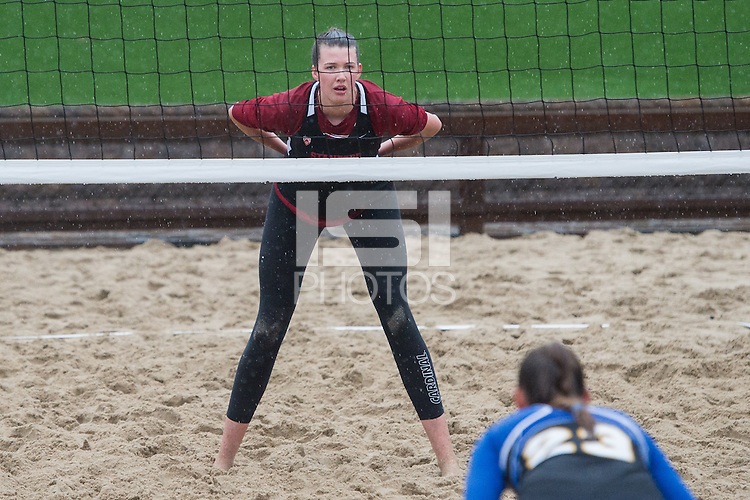 Stanford, CA, March 5, 2016<br /> Stanford Women's Sand Volleyball vs.SJSU at ACSR Sand Courts. Stanford won 3-2.