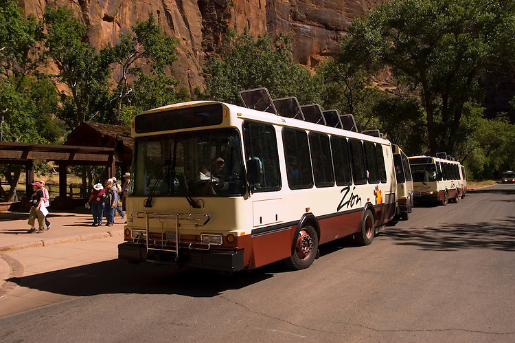 Shuttle bus at Zion National Park, Utah, UT, Zion National Park Shuttle at Virgin River bus stop, Southwest America, American Southwest, US, United States, Image ut388-18215, Photo copyright: Lee Foster, www.fostertravel.com, lee@fostertravel.com, 510-549-2202
