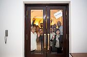 WARSAW, POLAND, December 21, 2016<br /> Polish  members of parliament from opposition parties PO (Civic Platform) and Nowoczesna (Modern) are posing behind the closed doors leading to plenary hall of the Sejm (Polish parliament), which they have been occupying for the last six days, since 16-th december. The sign says &quot;#free media&quot;.<br /> The opposition objects to government plans to drastically limit the number of journalists allowed to cover parliamentary proceedings. The opposition MPs' protest delayed a budget 2017 vote, which was later held away from the main parliament chamber and is now considered unlawful, which sparks further protest.<br /> (Photo by Piotr Malecki / Napo Images)<br /> ****<br /> WARSZAWA, 21.12.2016. <br /> Poslowie opozycji z partii PO i Nowoczesna pozuja za drzwiami do kuluarow i sali plenarnej ktorych nie opuszczaja od szesciu dni. Jest to dzialanie w obronie wolnosci mediow i przeciwko uchwaleniu budzetu przez partie rzadzaca w innej sali, bez obecnosci poslow opozycji. <br /> n/z m.innymi: w prawym oknie - Jakub Rutnicki (PO), Izabela Leszczyna (PO), Joanna Augustynowska (Nowoczesna), w lewym oknie - Gabriela Lenartowicz (PO), Maria Malgorzata Janyska (PO), Arkadiusz Marchewka (PO), Andrzej Halicki (PO), <br /> Fot. Piotr Malecki / Napo Images<br /> <br /> ###ZDJECIE MOZE BYC UZYTE W KONTEKSCIE NIEOBRAZAJACYM OSOB PRZEDSTAWIONYCH NA FOTOGRAFII### ### Cena zdjecia w/g cennika FORUM plus 50% (cena minimalna 100 PLN)