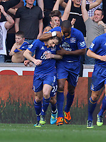 FAO SPORTS PICTURE DESK<br /> Pictured: Leighton Baines of Everton (L) with Sylvain Distin celebrating his first goal. Saturday, 24 March 2012<br /> Re: Premier League football, Swansea City FC v Everton at the Liberty Stadium, south Wales.