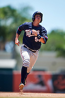 GCL Twins catcher Justin Hazard (56) running the bases during a game against the GCL Orioles on August 11, 2016 at the Ed Smith Stadium in Sarasota, Florida.  GCL Twins defeated GCL Orioles 4-3.  (Mike Janes/Four Seam Images)