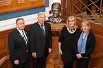 Unveiling of the Sandy Jardine bust on the marble staircase at Ibrox.  Jim Hannah, John Greig, Shona Jardine and artist Helen Runciman