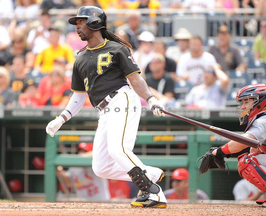 Pittsburgh Pirates Andrew McCutchen (22) during a game against the St. Louis Cardinals on August 27, 2014 at PNC Park in Pittsburgh PA. The Pirates beat the Cardinals 3-1.